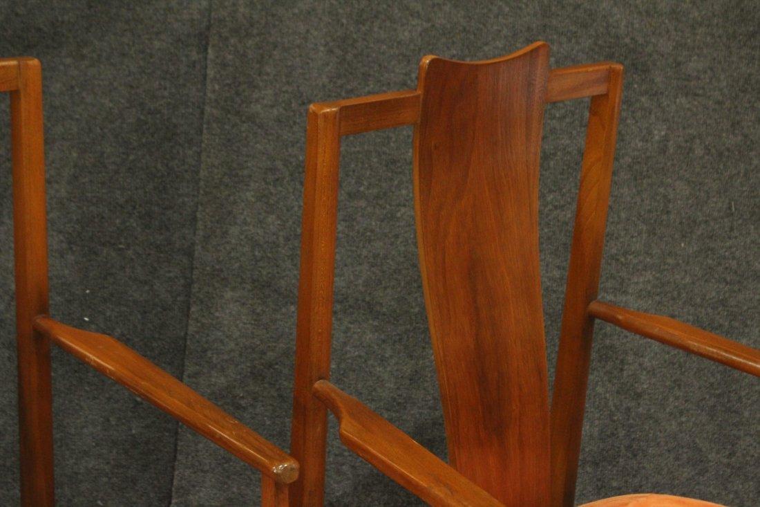 Pair Mid-Century Modern High Back Danish Arm Chairs - 4