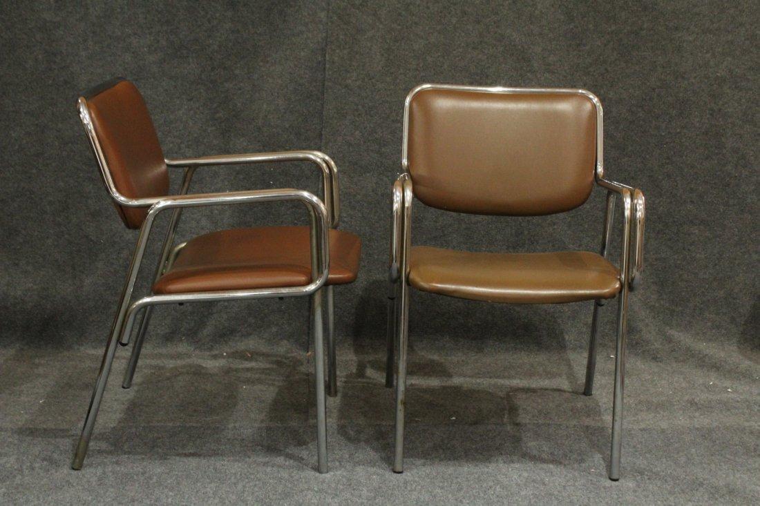 Pair Mid-Century Modern Tubular Chrome Arm Chairs