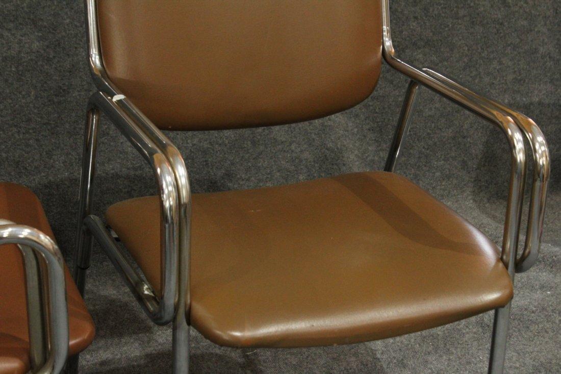 Pair Mid-Century Modern Tubular Chrome Arm Chairs - 2