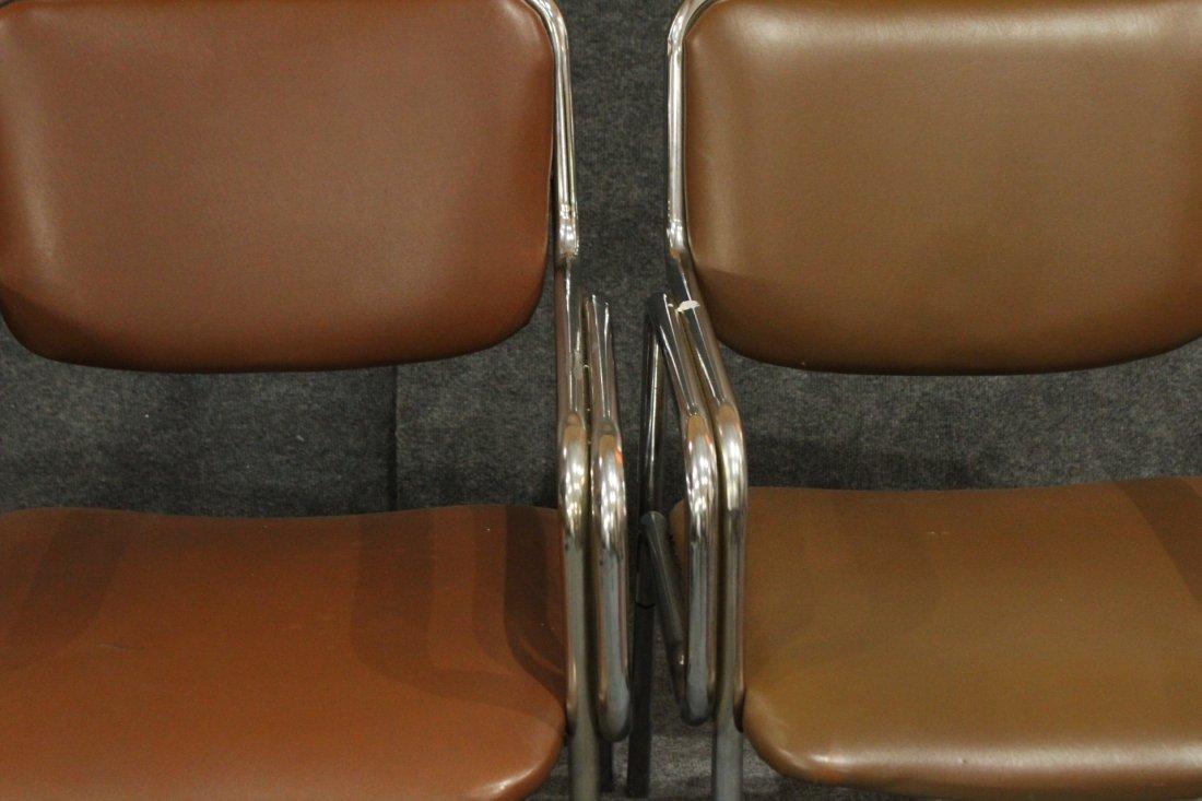 Pair Mid-Century Modern Tubular Chrome Arm Chairs - 3