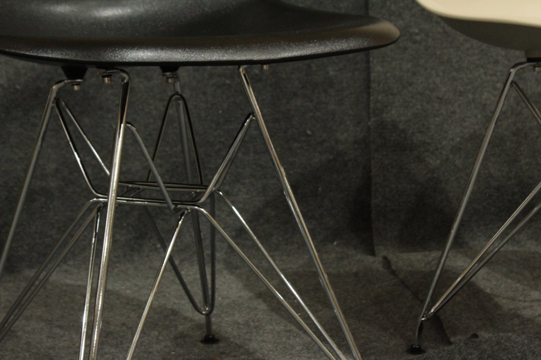 3 Assorted Eiffel Tower Base Modern Design Chairs Later - 2