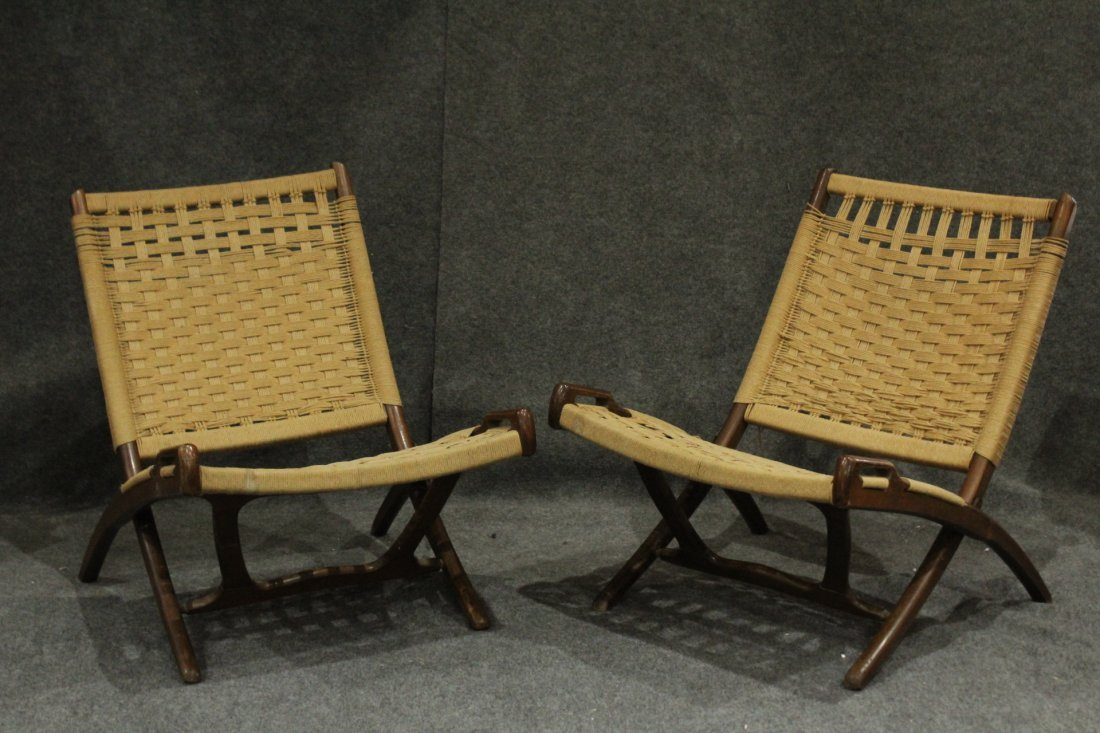Pair Rope Cord & Wood Folding Chairs Hans Wegner Style