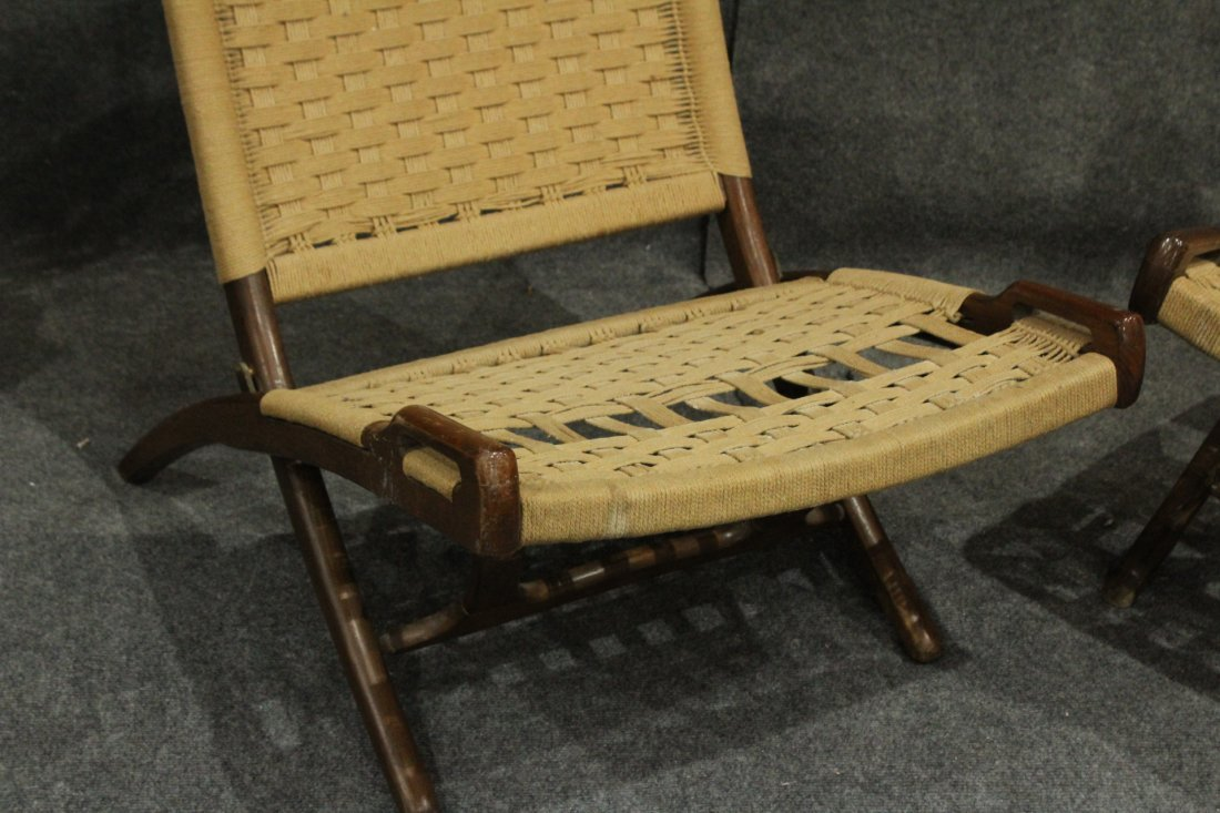 Pair Rope Cord & Wood Folding Chairs Hans Wegner Style - 2