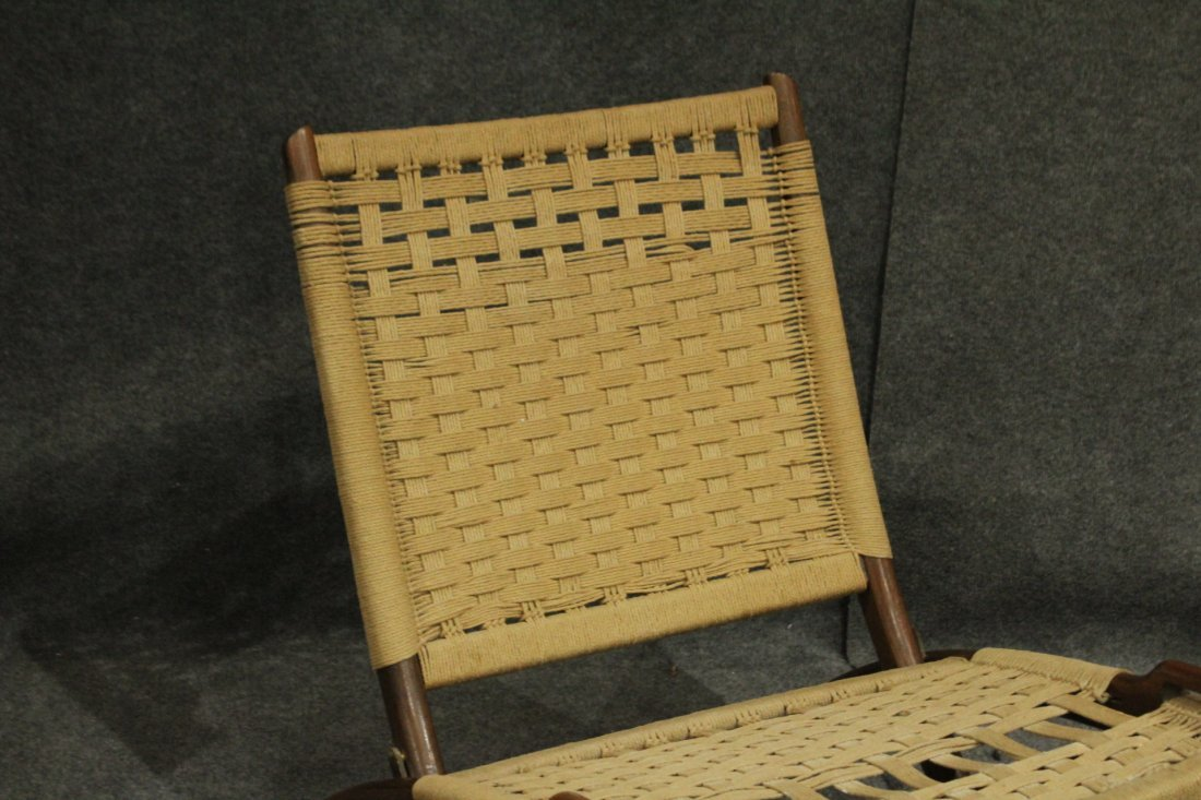 Pair Rope Cord & Wood Folding Chairs Hans Wegner Style - 3