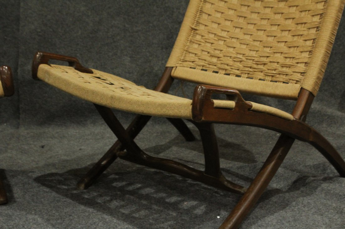 Pair Rope Cord & Wood Folding Chairs Hans Wegner Style - 4