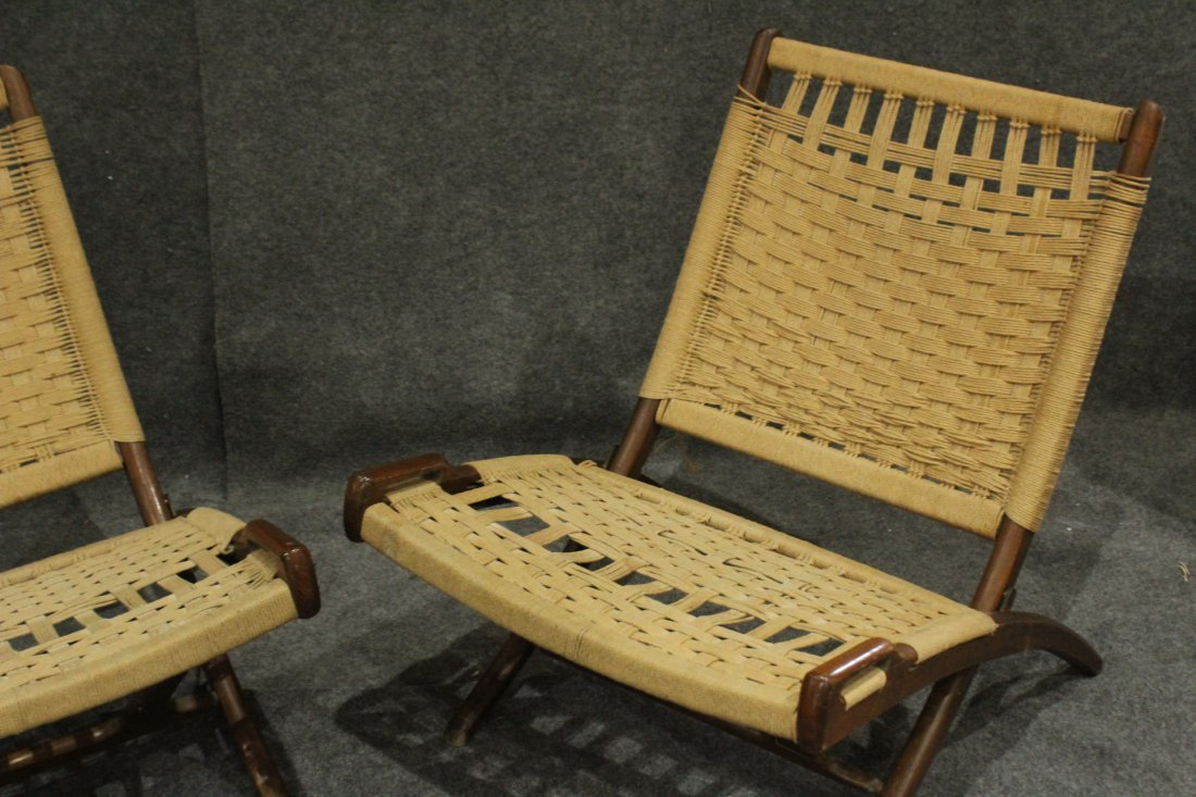 Pair Rope Cord & Wood Folding Chairs Hans Wegner Style - 5