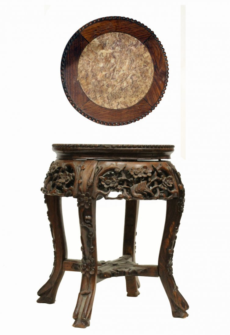 Antique Carved Chinese Taboret Stand Rose Inset Marble