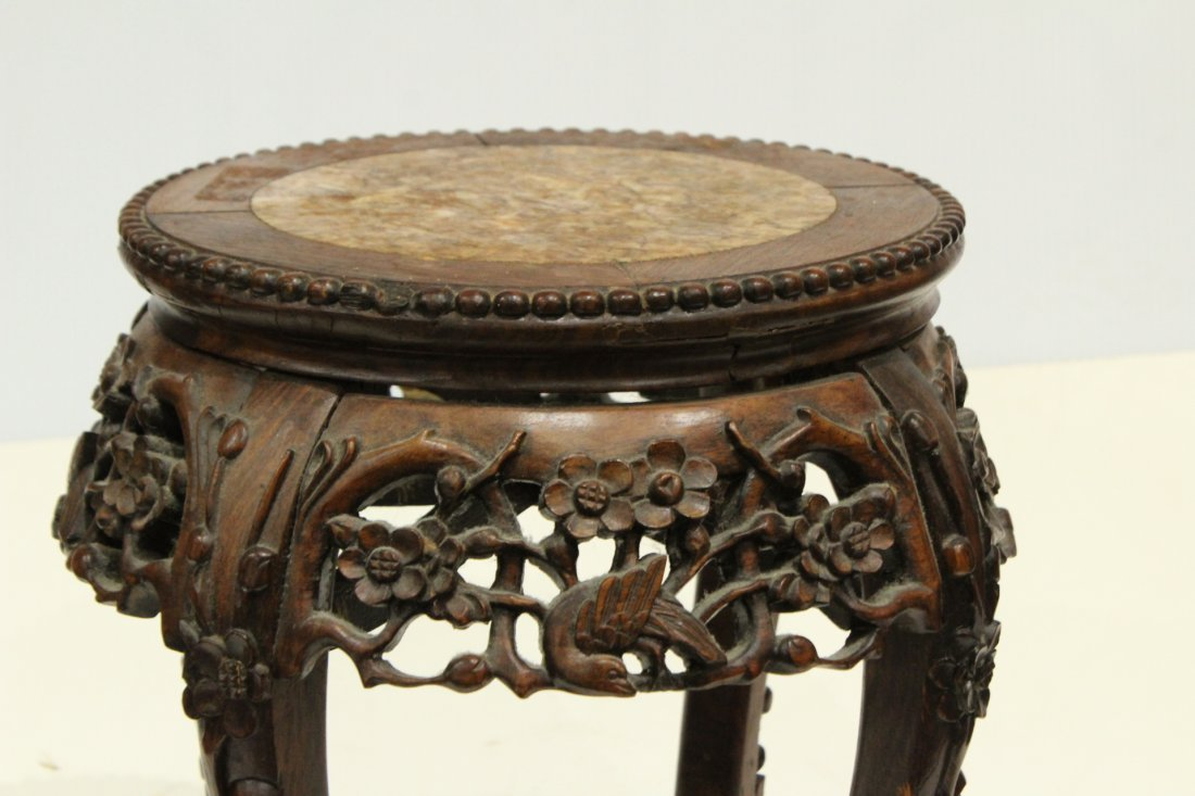 Antique Carved Chinese Taboret Stand Rose Inset Marble - 2