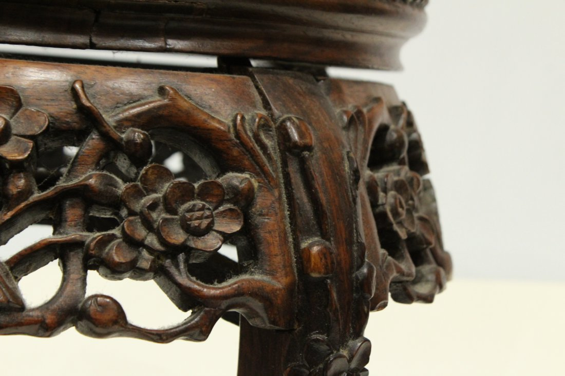 Antique Carved Chinese Taboret Stand Rose Inset Marble - 4