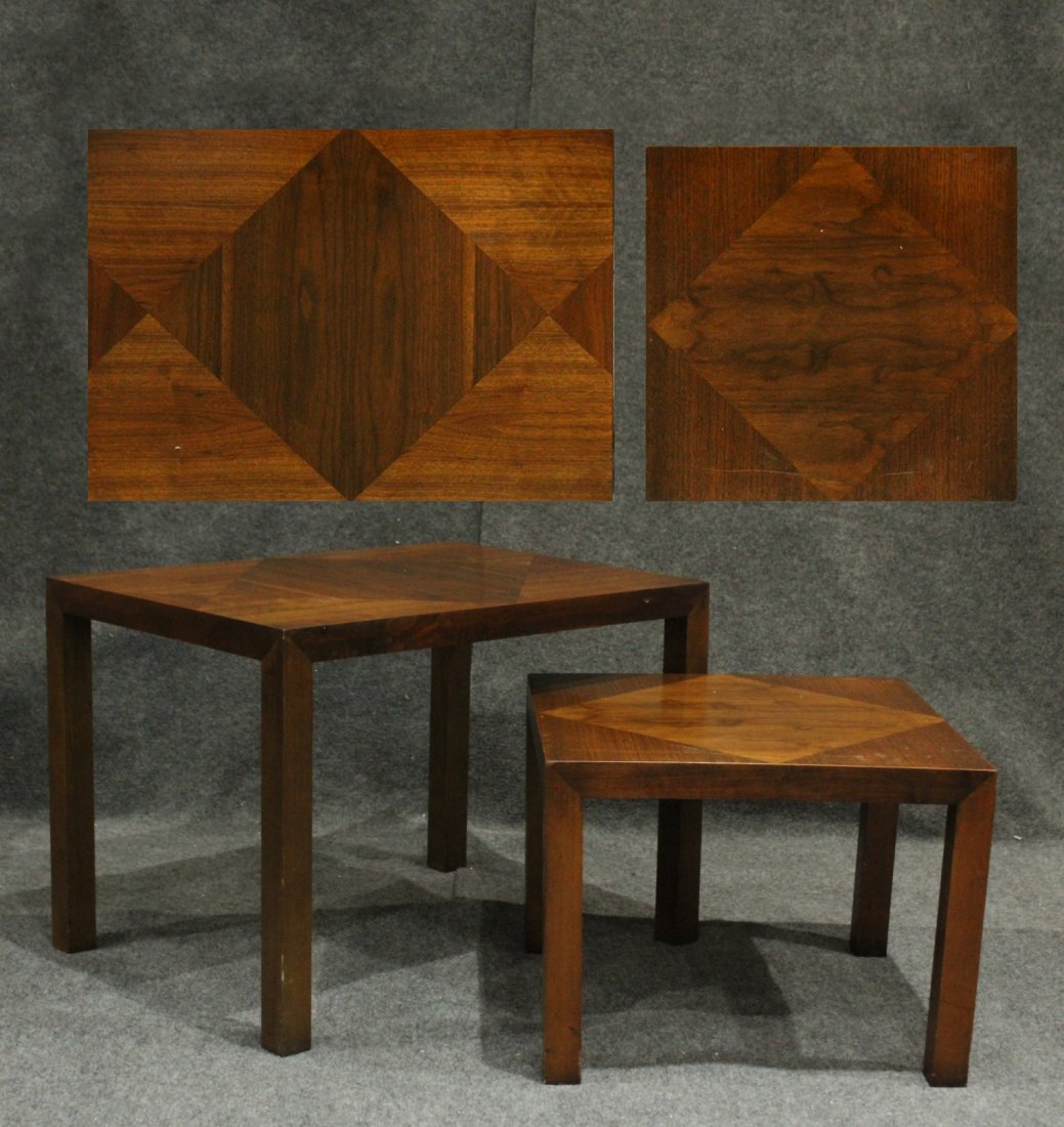 Pair LANE Mid-Century Graduated Size Stands Inlay Tops