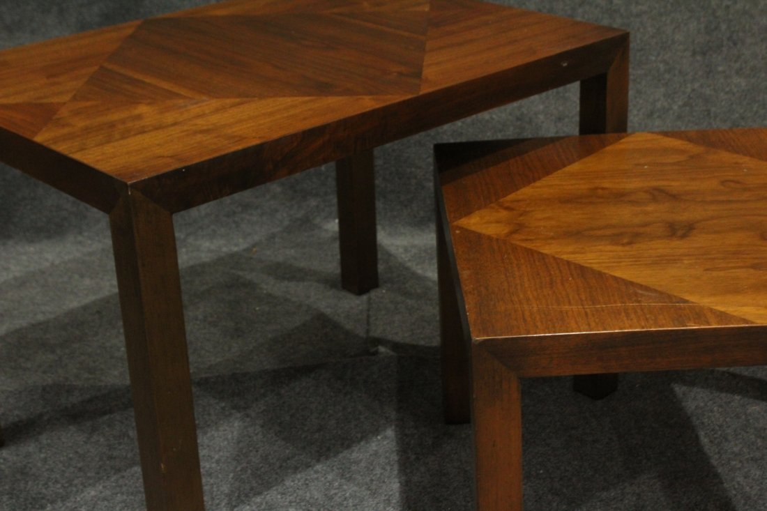 Pair LANE Mid-Century Graduated Size Stands Inlay Tops - 4