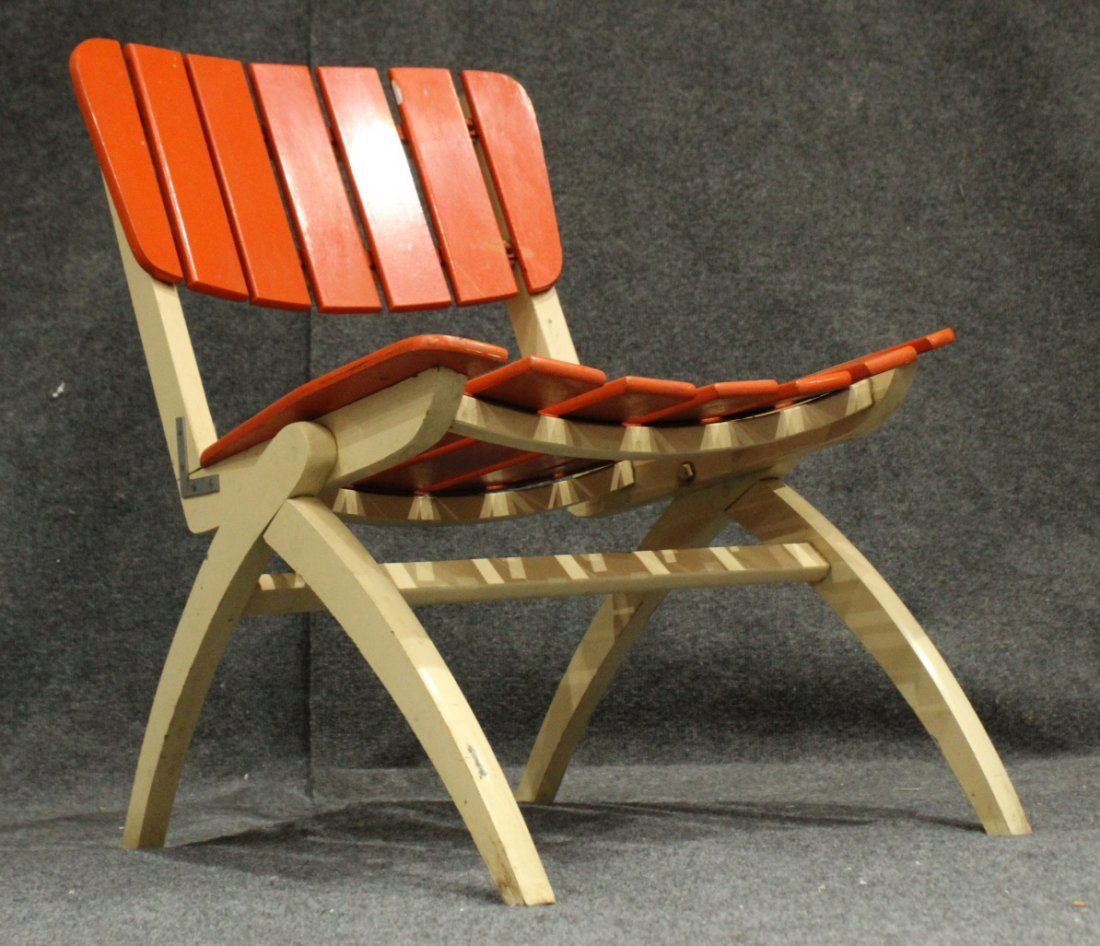 Mid-Century Modern Herlag Orange Wood Slat Chair