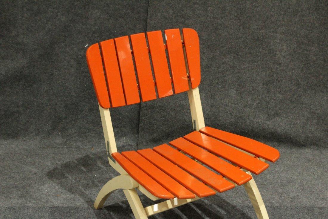 Mid-Century Modern Herlag Orange Wood Slat Chair - 2