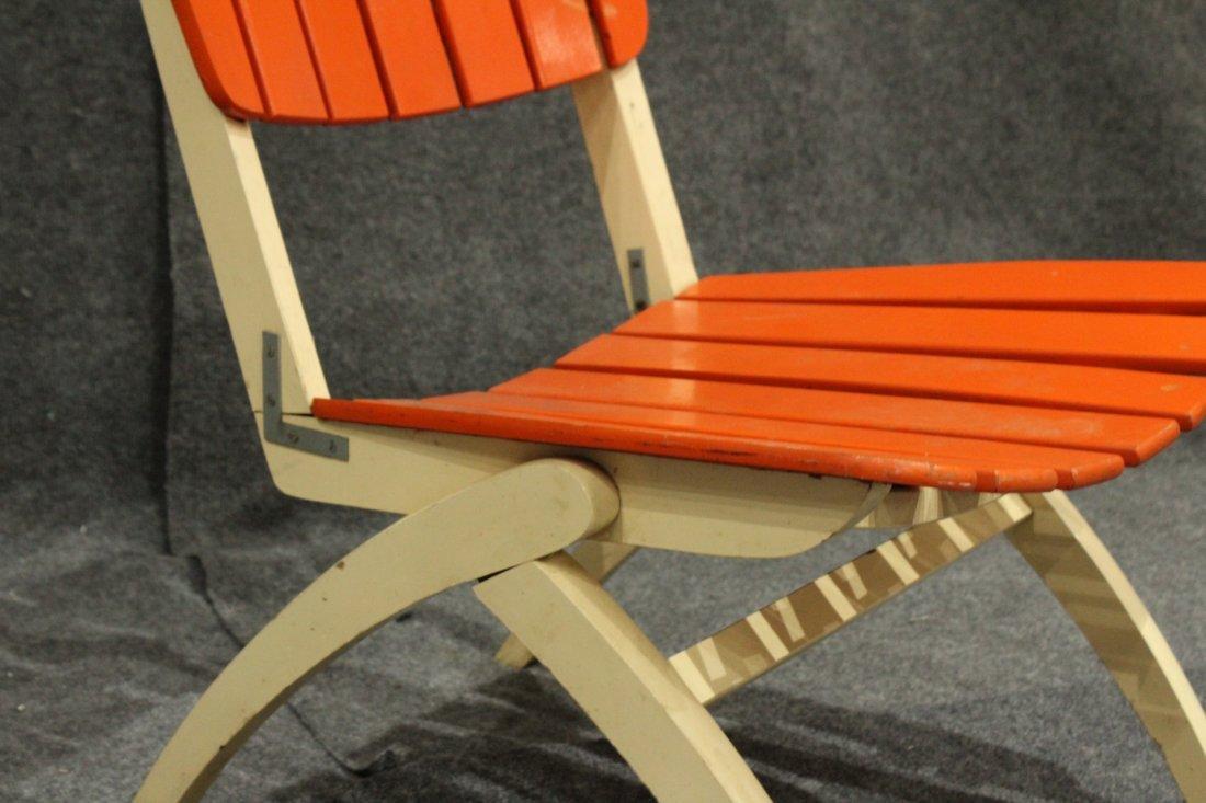 Mid-Century Modern Herlag Orange Wood Slat Chair - 3
