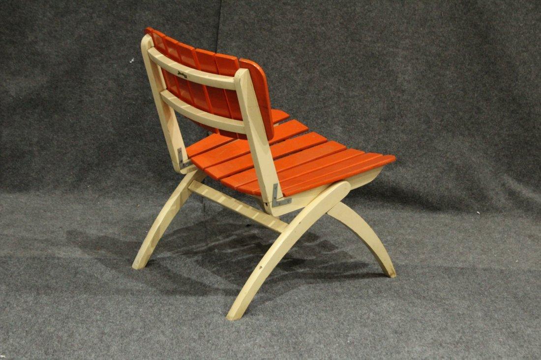 Mid-Century Modern Herlag Orange Wood Slat Chair - 4