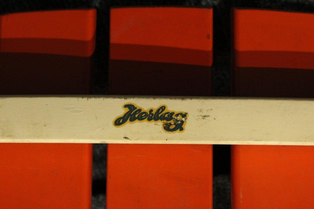 Mid-Century Modern Herlag Orange Wood Slat Chair - 5