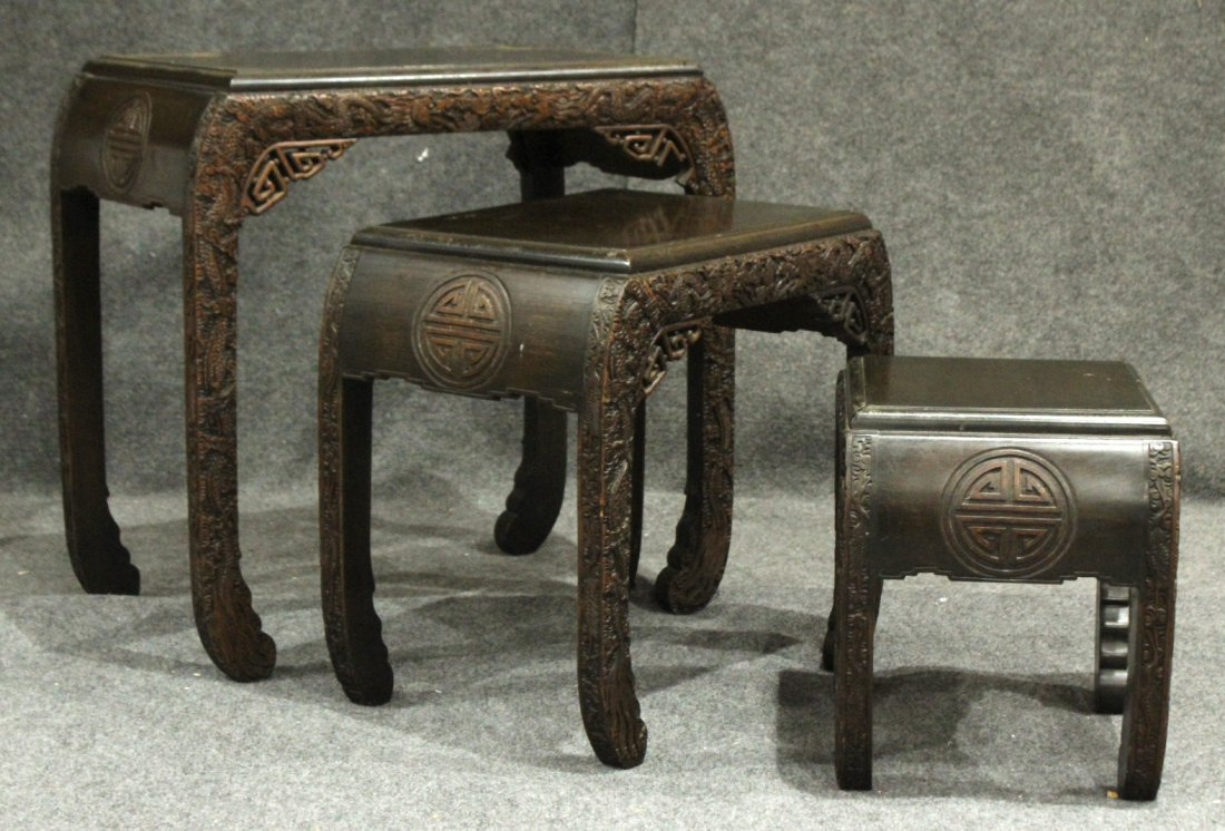 Carved Asian Oriental Nest of Tables