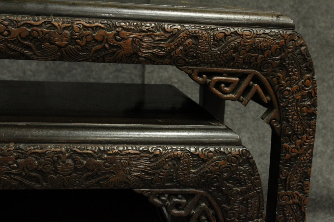 Carved Asian Oriental Nest of Tables - 5