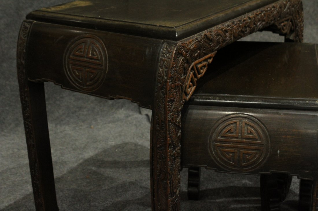 Carved Asian Oriental Nest of Tables - 6