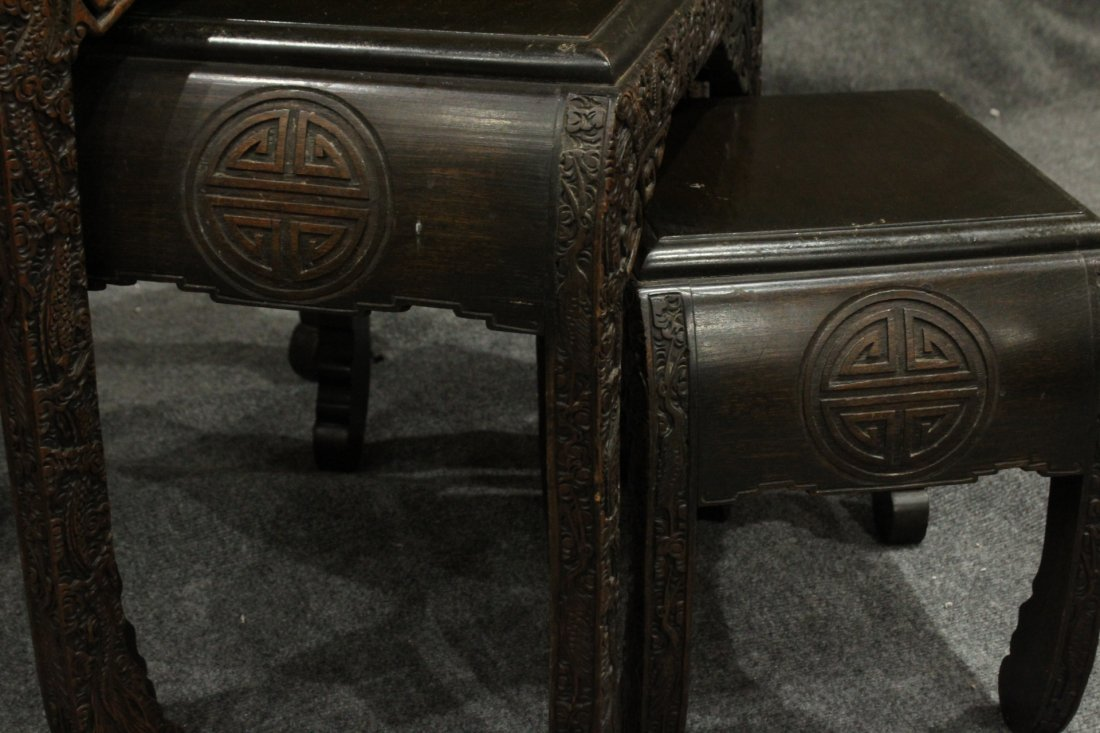 Carved Asian Oriental Nest of Tables - 7