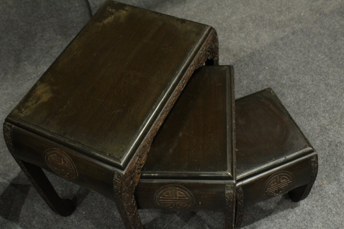 Carved Asian Oriental Nest of Tables - 8