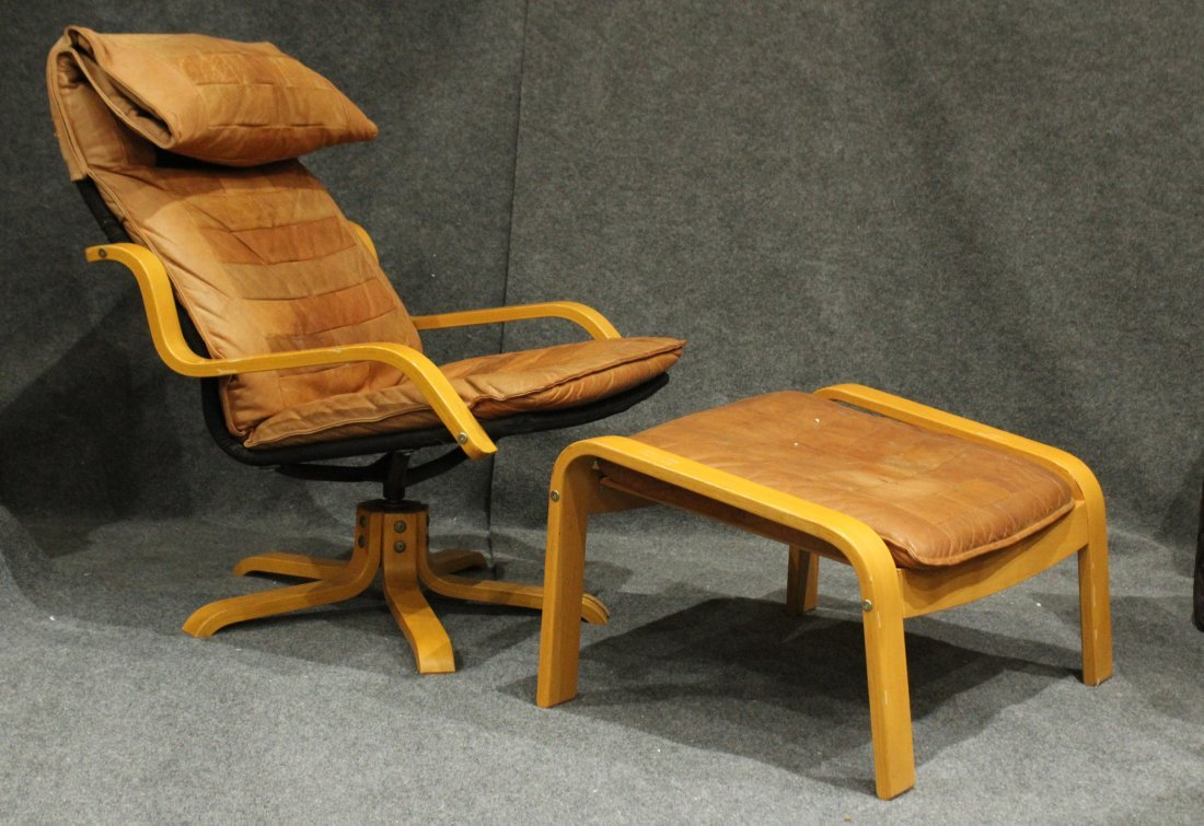 Westnofa Bent Ply Swivel Lounge Chair & Ottoman Leather