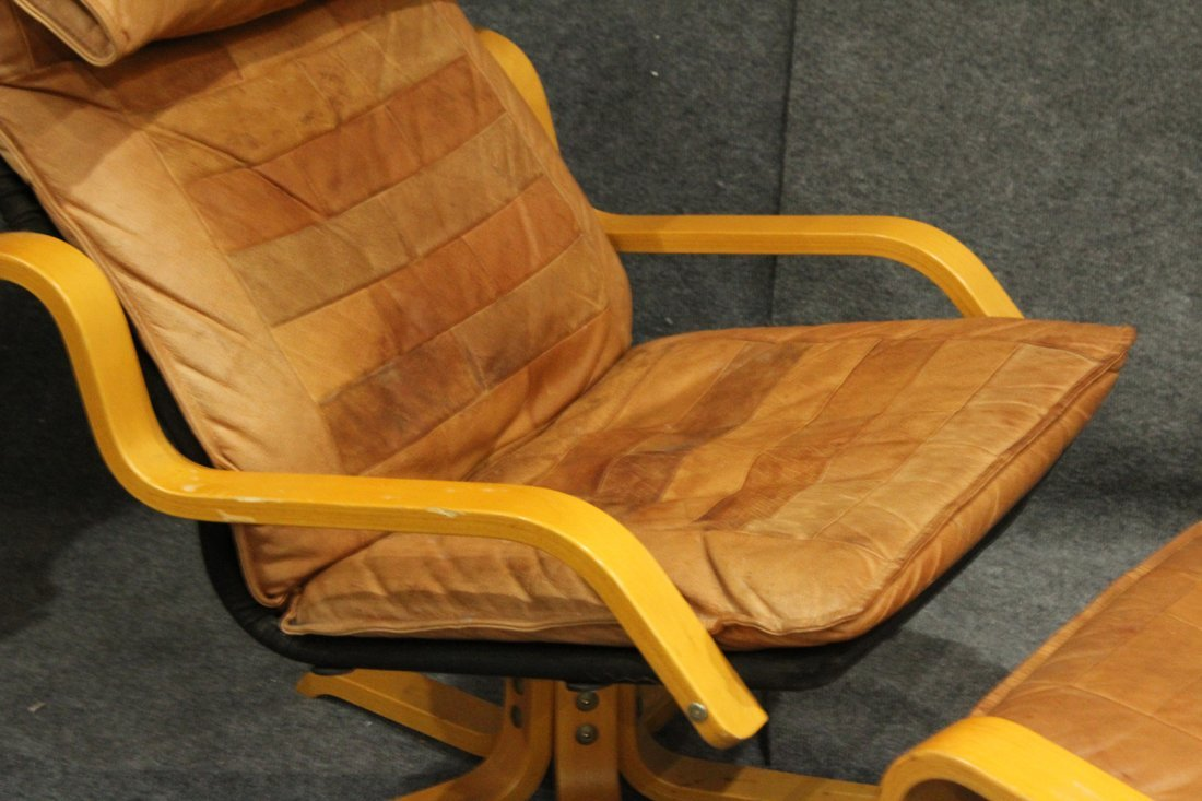 Westnofa Bent Ply Swivel Lounge Chair & Ottoman Leather - 2
