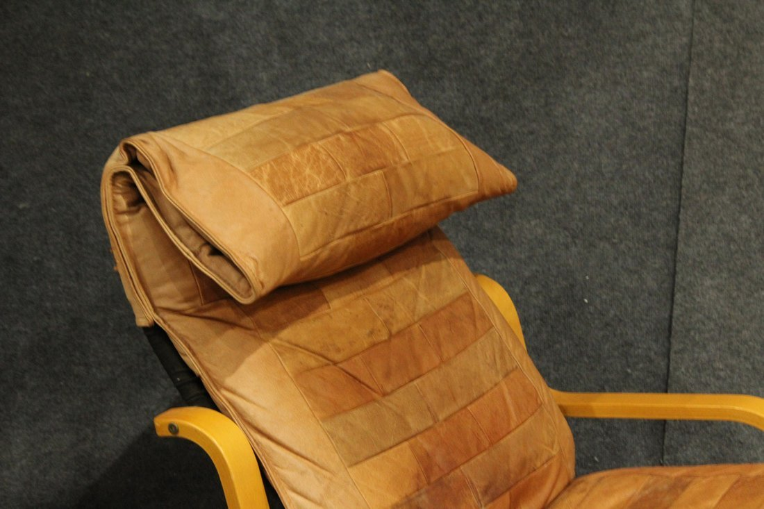 Westnofa Bent Ply Swivel Lounge Chair & Ottoman Leather - 3