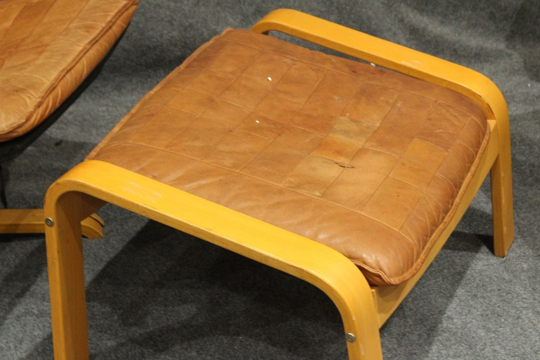 Westnofa Bent Ply Swivel Lounge Chair & Ottoman Leather - 4