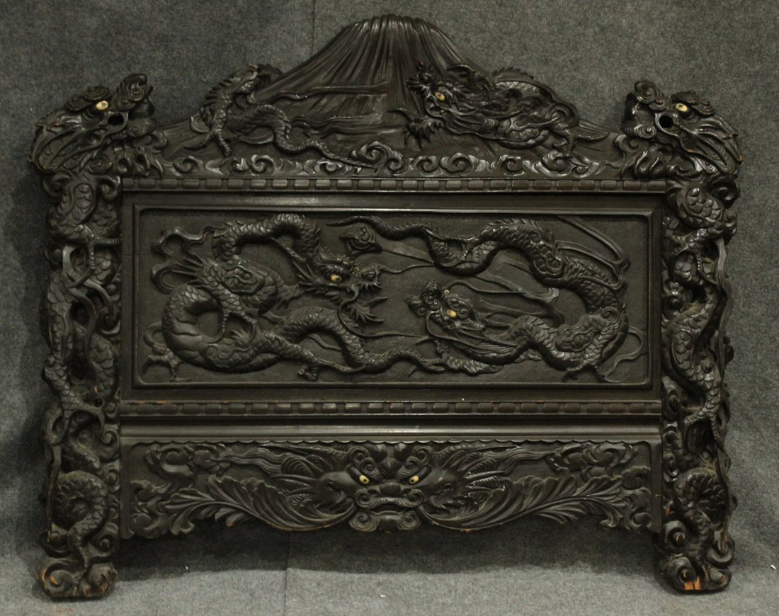 Heavily Carved Japanese Daybed,  Dragons, Mount Fuji - 10