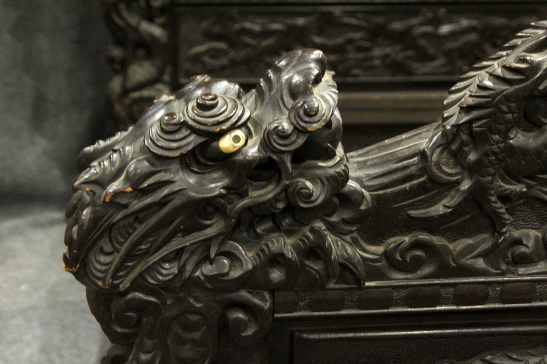 Heavily Carved Japanese Daybed,  Dragons, Mount Fuji - 2
