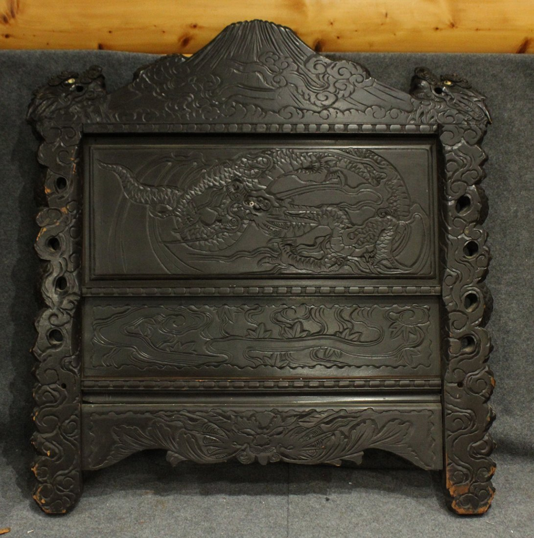 Heavily Carved Japanese Daybed,  Dragons, Mount Fuji - 8