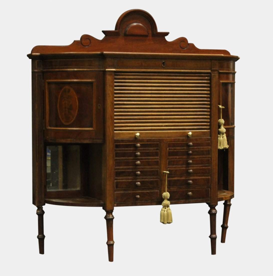 RARE French Victorian Walnut Watchmaker Jeweler Cabinet