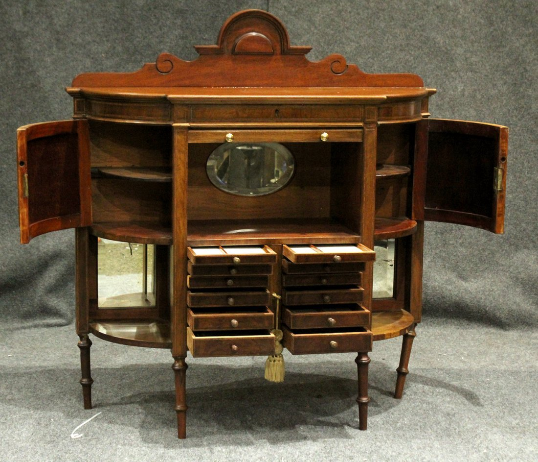 RARE French Victorian Walnut Watchmaker Jeweler Cabinet - 4
