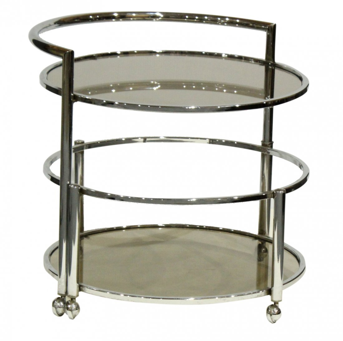 Mid-Century Chrome Swing Out Round Bar Cart