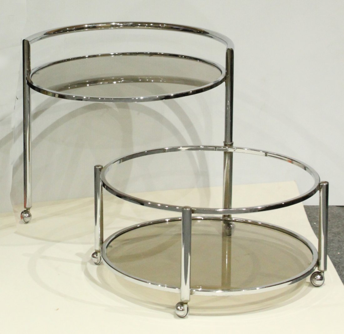 Mid-Century Chrome Swing Out Round Bar Cart - 2