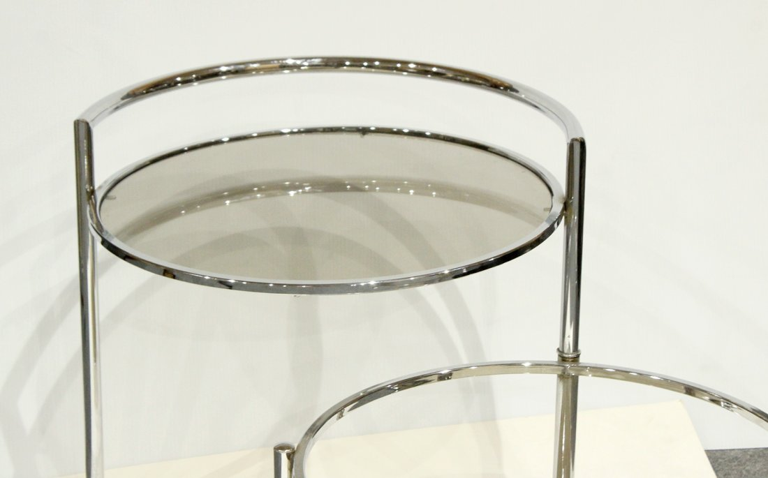 Mid-Century Chrome Swing Out Round Bar Cart - 3