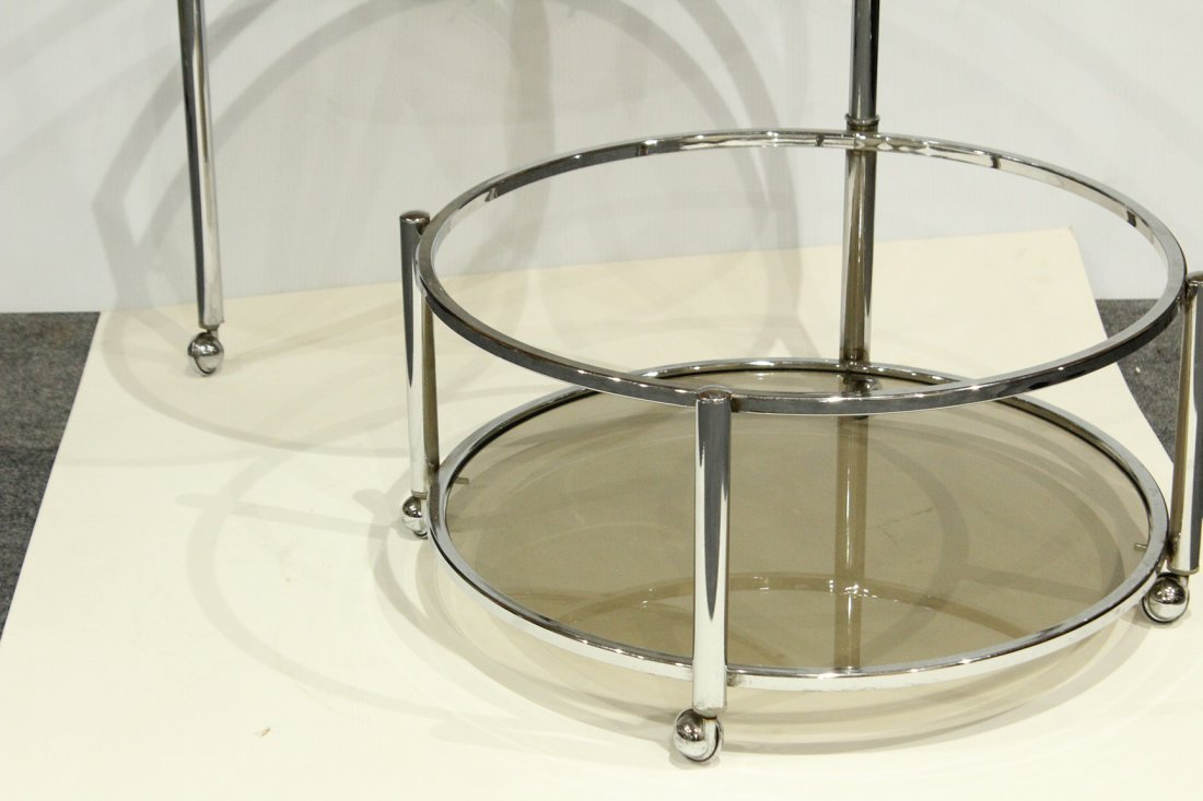 Mid-Century Chrome Swing Out Round Bar Cart - 4