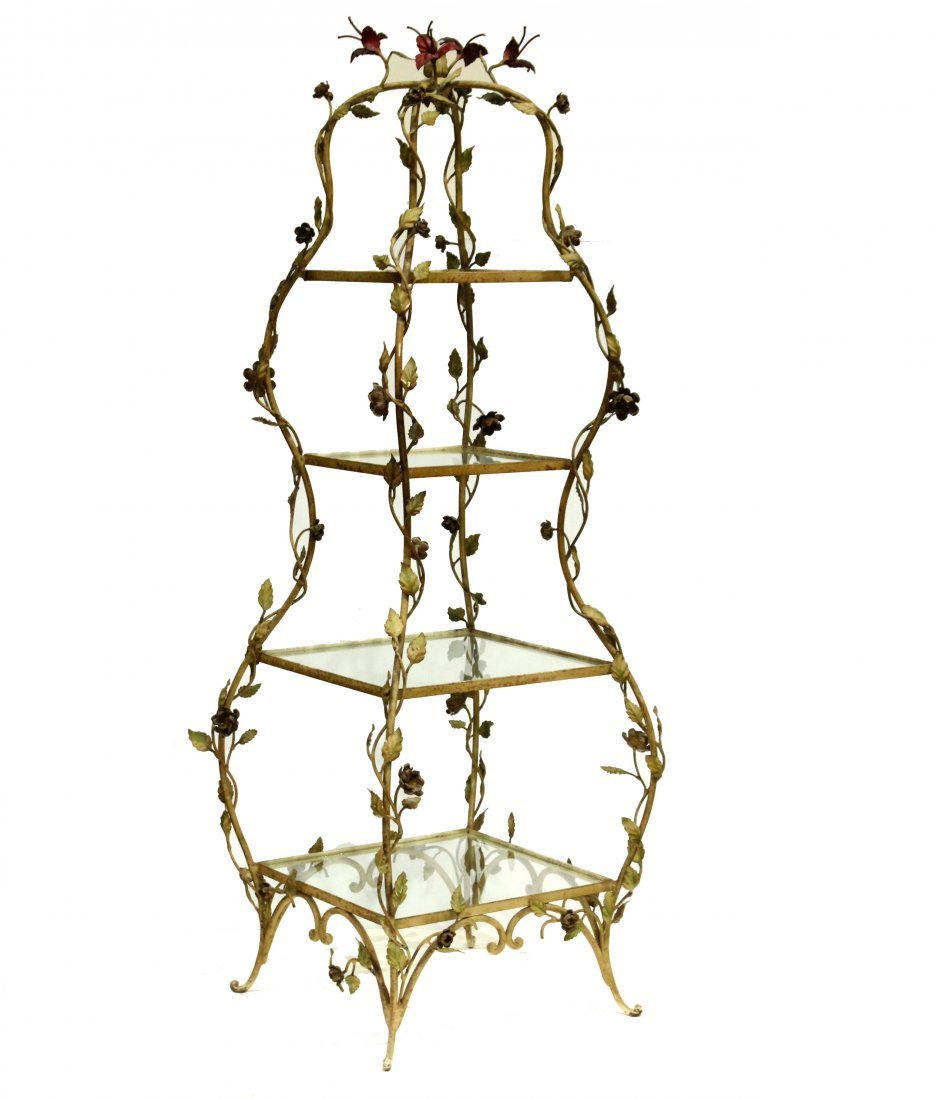 French Metal Leaf and Vine Etagere Tiered Stand