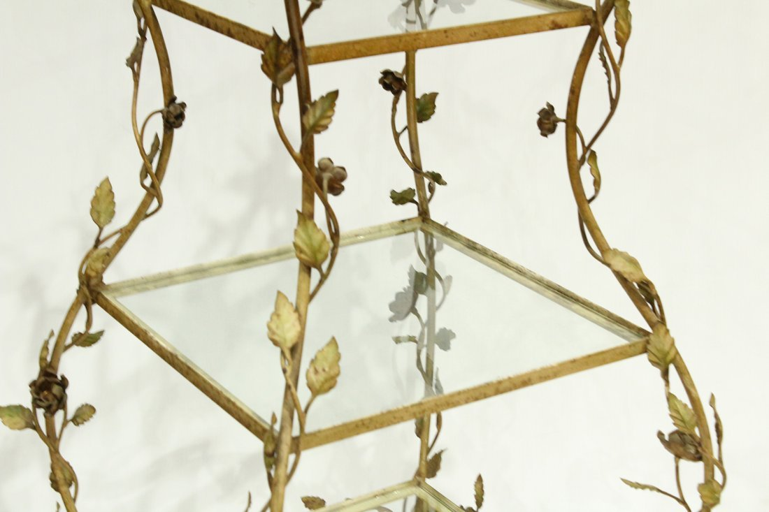 French Metal Leaf and Vine Etagere Tiered Stand - 4
