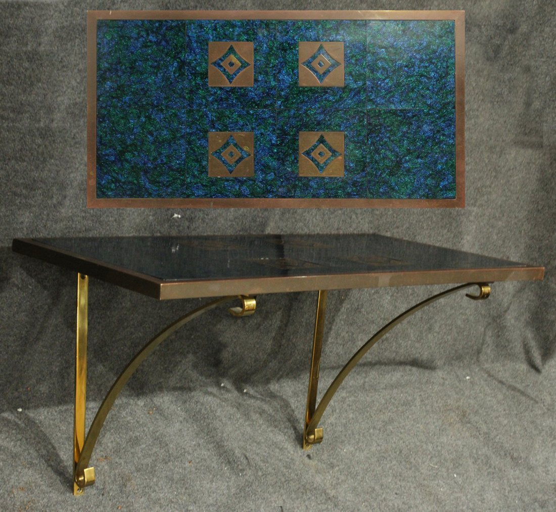 Superb Quality Mid-Century Bronze and Tile Hall Table