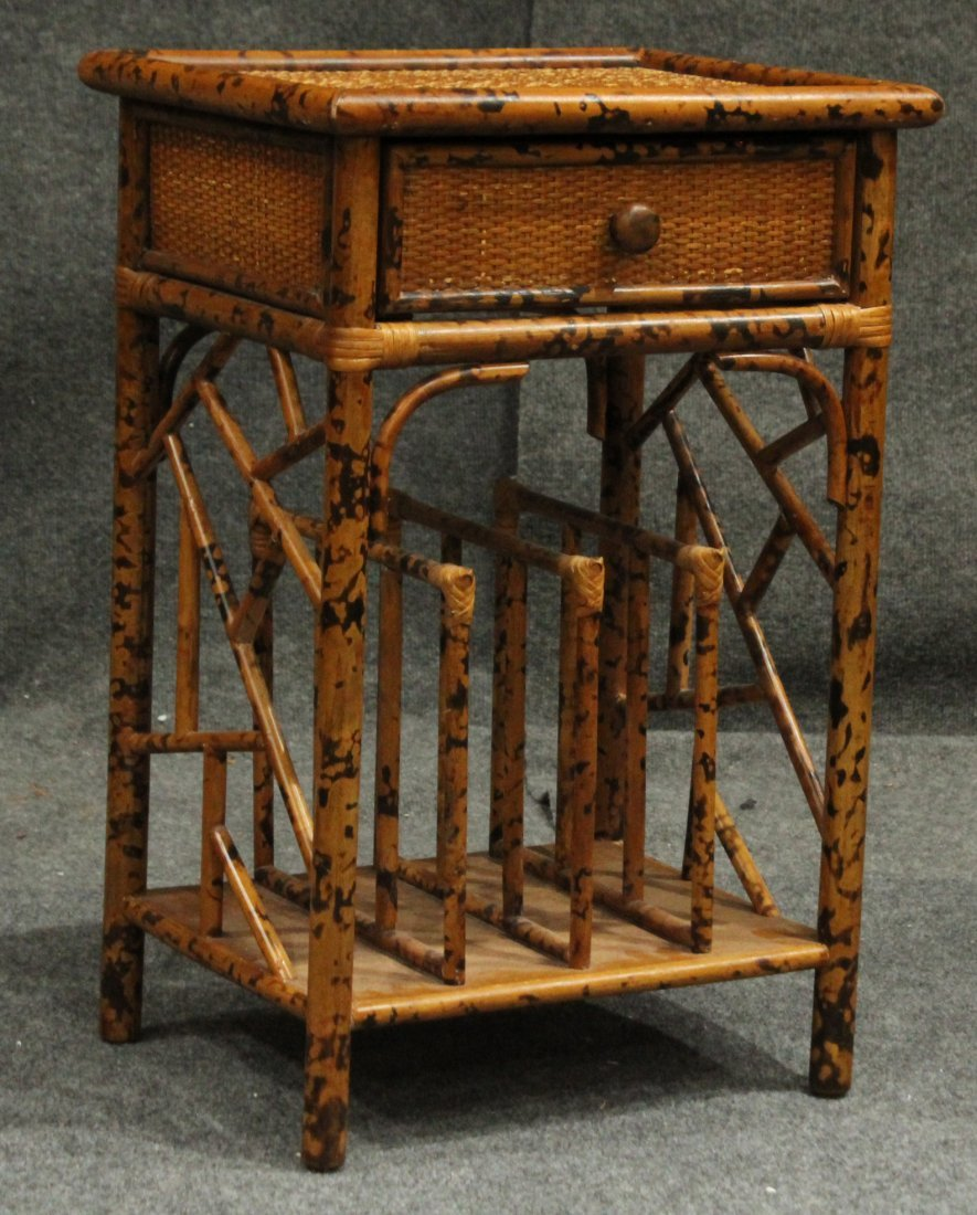Vintage Bamboo Rattan One Drawer Magazine Stand