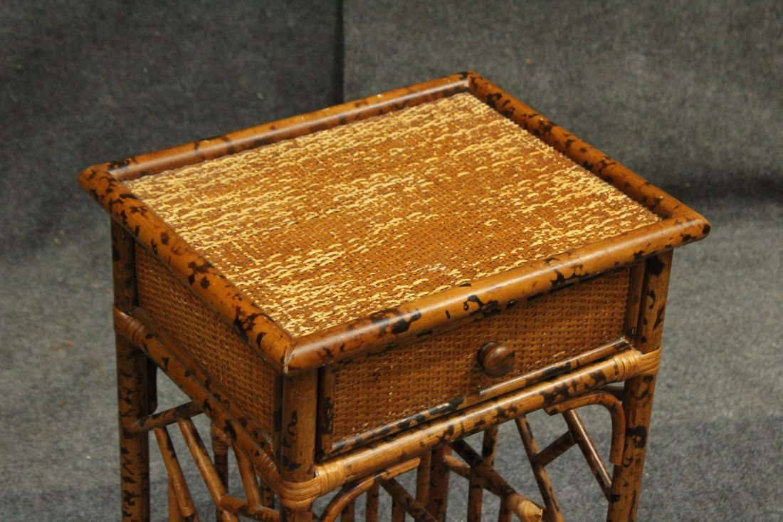 Vintage Bamboo Rattan One Drawer Magazine Stand - 2