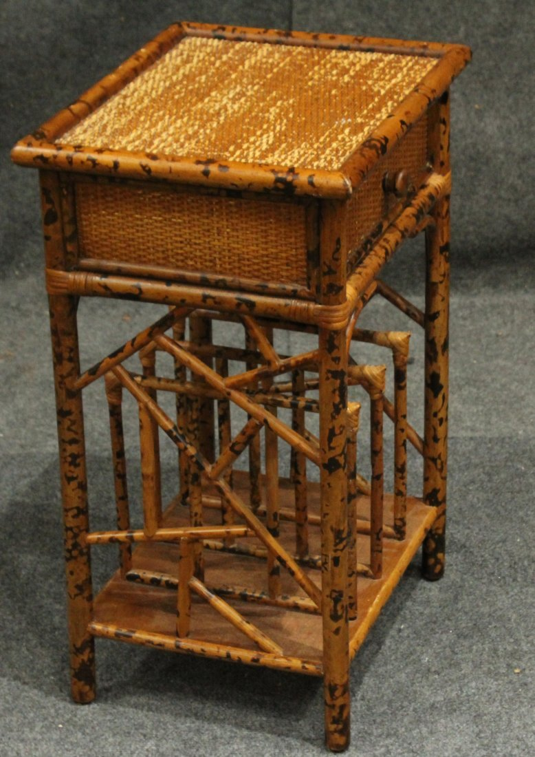 Vintage Bamboo Rattan One Drawer Magazine Stand - 3