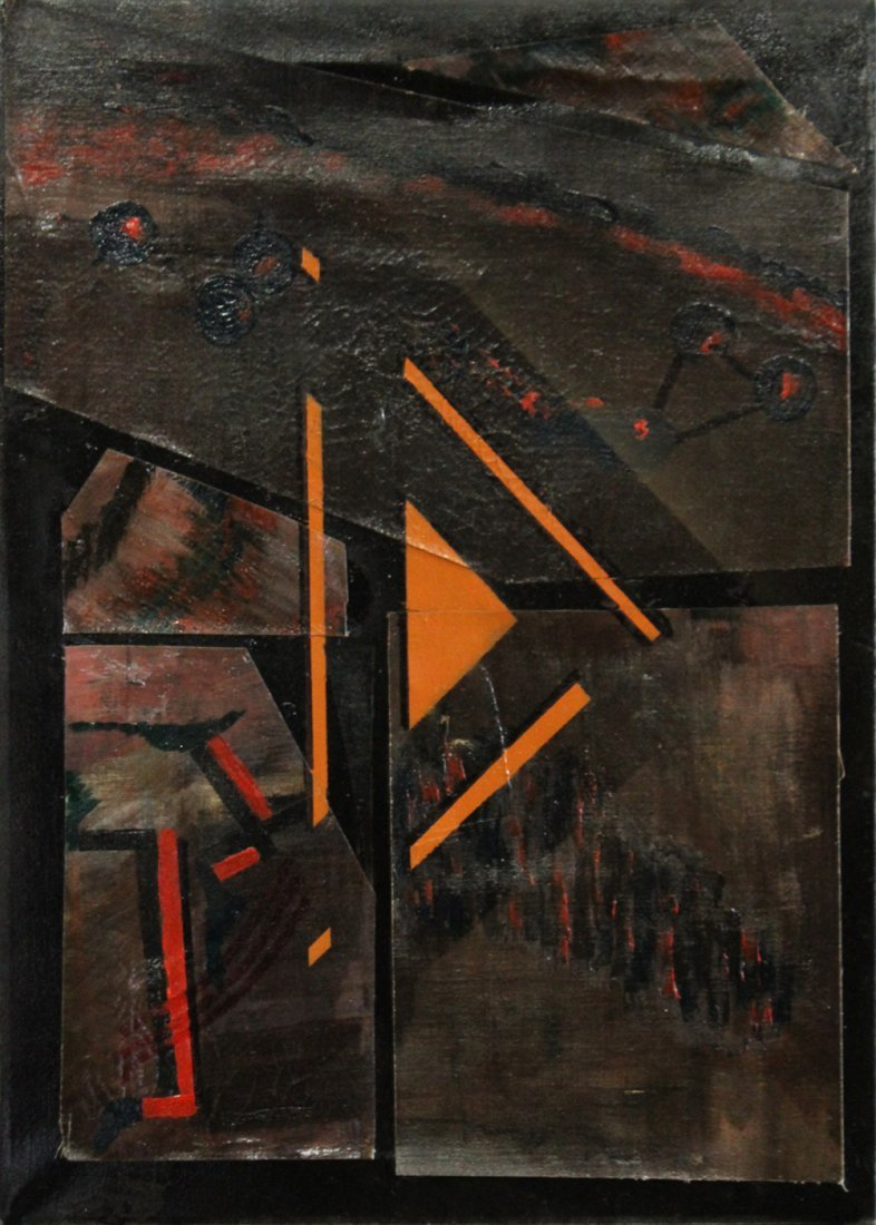 Mid-Century Modern Oil Collage Abstract Painting