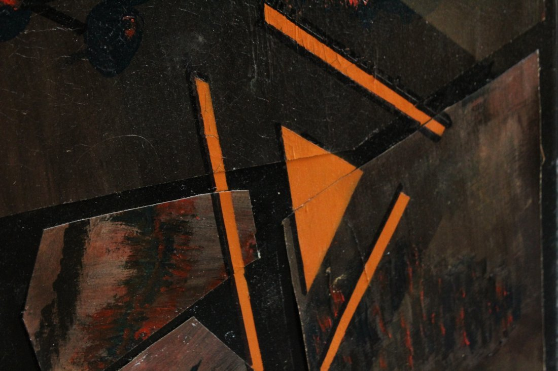 Mid-Century Modern Oil Collage Abstract Painting - 3