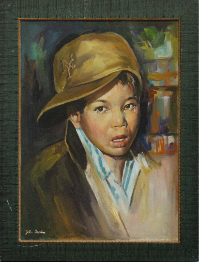 John Topin , Oil/C, Portrait Vietnames Orphan Boy 1975