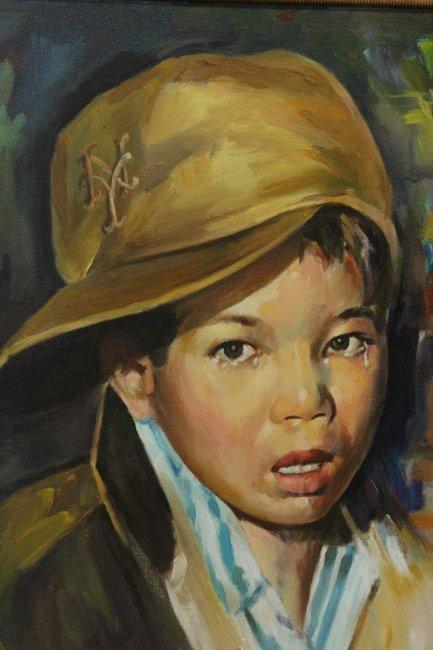 John Topin , Oil/C, Portrait Vietnames Orphan Boy 1975 - 3