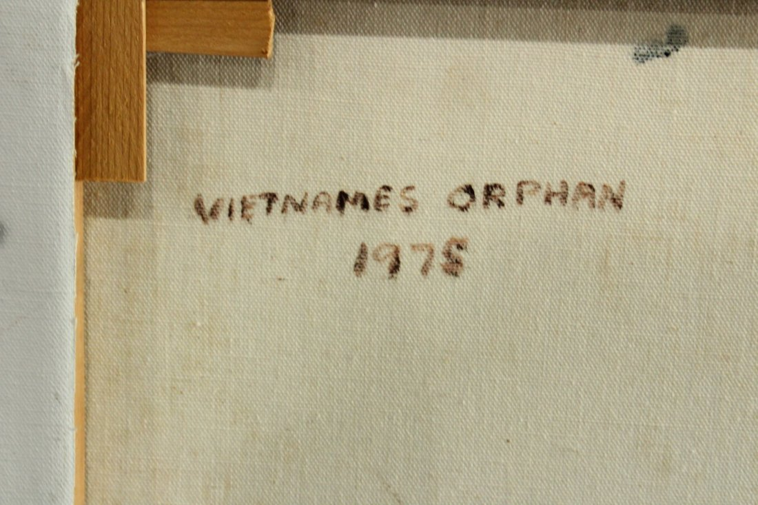 John Topin , Oil/C, Portrait Vietnames Orphan Boy 1975 - 4