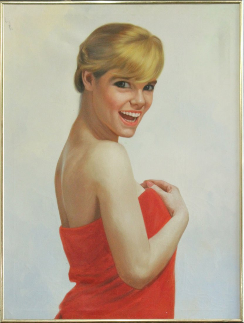 1960s Illustration Oil on Canvas, Smiling Blond Girl